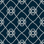 Seamless Nautical Rope Pattern. Endless Navy Illustration With Light Cords Ornament. Marine Ornate F poster