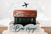 Stacked Old Leather Travel Bags With Airplanes And Bon Voyage Have A Nice Trip Inspiration poster