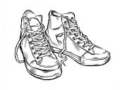 Hand drawn sneakers. Vector illustration.