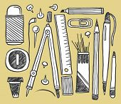 Hand-drawn stationery collection. Vector illustration. poster