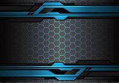 Abstract Metallic Blue Black Futuristic Polygon Line On Hexagon Mesh Pattern Design Modern Technolog poster