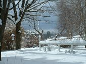 stock photo of winter scene  - sunny winter day with snow on a fence and on trees - JPG