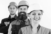 Equality Of Rights Concept. Team Of Architects, Builders With Happy Faces, Isolated White Background poster