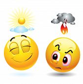 stock photo of smiley face  - Angry with black cloud and fire over its head and satisfied smiling ball  with sunshine over its head - JPG