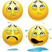 stock photo of morbid  - Sad smiling balls crying and pouring tears - JPG