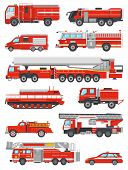 Fire Engine Vector Firefighting Emergency Vehicle Or Red Firetruck With Firehose And Ladder Illustra poster