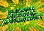 Awesome Personal Development - Comic Book Style Word On Abstract Background. poster