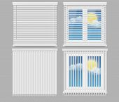 Window Blinds Mockup Set. Vector Realistic Illustration Of Plastic Windows With White Horizontal And poster