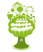 foto of environmentally friendly  - Green eco town on a tree concept - JPG