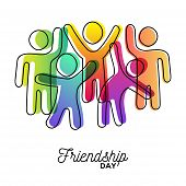 Happy Friendship Day Greeting Card. Colorful Diverse Friend Group Dancing For Special Event Celebrat poster