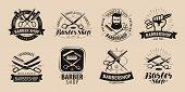 Barbershop, Hairdressing Salon Logo Or Label. Vector poster