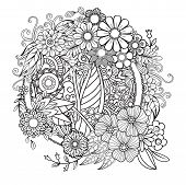 Adult Coloring Page With Flowers Pattern. Black And White Doodle Wreath. Floral Mandala. Bouquet Lin poster