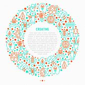 Creative Concept In Circle With Thin Line Icons: Generation Of Idea, Start Up, Brief, Brainstorming, poster