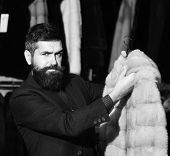 Macho With Stylish Appearance With Mink Fur In Fashion Store. Man With Beard And Mustache Holds Fur  poster