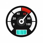 Motor Bike Speedometer Icon. Flat Illustration Of Motor Bike Speedometer Vector Icon For Web Isolate poster