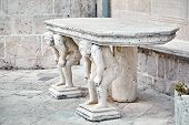 Stone Table, Which Stands On Two Carved Titans, Church Of Our Lady Of The Rocks, Perast, Montenegro poster