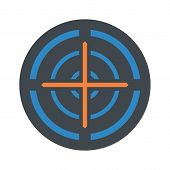 Orange Cross Gun Aim Icon. Flat Illustration Of Orange Cross Gun Aim Vector Icon For Web Isolated On poster