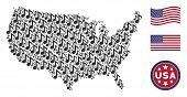 Musical Note Items Are Grouped Into American Map Collage. Vector Composition Of America Geographic M poster