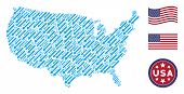 Sword Items Are Composed Into American Map Mosaic. Vector Concept Of America Geographic Map Is Organ poster
