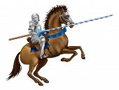 stock photo of jousting  - Drawing of a jousting knight in armour on horse back - JPG