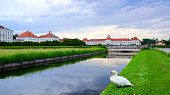 pic of munich residence  - Picturesque nature landscape with Nymphenburg Palace Munich - JPG