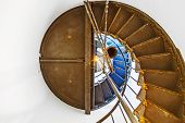 pic of mendocino  - stairs of famous Point Arena Lighthouse in California like a shell - JPG