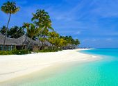 stock photo of kuramathi  - Beach bungalows on a tropical island travel background - JPG