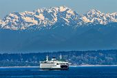 picture of olympic mountains  - Seattle Bainbridge Island Car Ferry Puget Sound Olympic Snow Mountains Washington State Pacific Northwest - JPG