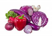 pic of gamma  - Assorted vegetables in violet gamma isolated on white background - JPG