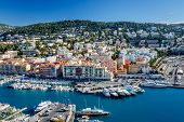 stock photo of french culture  - Aerial View on Port of Nice and Luxury Yachts French Riviera France - JPG