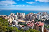 Malaga city panoramic view, Andalusia, Spain (with corrida arena)