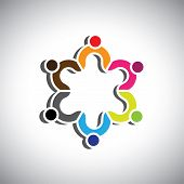 Colorful Design Of A Group Of People Or Children Symbols