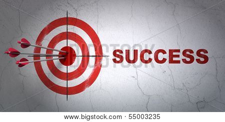 Finance concept: target and Success on wall background poster