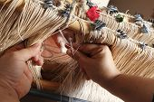 stock photo of handloom  - Various stages of processing of industrial fabrics or craft - JPG