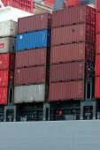 stock photo of container ship  - shipping cargo containers close - JPG
