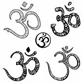 Ohm. Om Aum Symbol.  Hand drawn illustration.