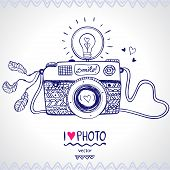 foto of monochromatic  - illustration sketch vintage retro photo camera - JPG