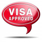 visa approved immigration stamp for crossing the border passing customs for tourism and passport con