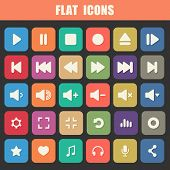 Trendy Flat Media Player Icons Set. Multimedia. Vector