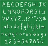Постер, плакат: Handwritten White Chalk Fonts On Green Blackboard