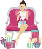 stock photo of bridal shower  - Illustration of a Woman Opening the Gifts from Her Bridal Shower - JPG