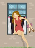 foto of sneak  - Illustration of a Girl Sneaking Out from Her Bedroom Window - JPG