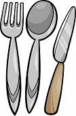Постер, плакат: Utensils Cartoon Illustration