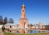 stock photo of ascension  - Belfry of the lake in the Holy Ascension Monastery in Moscow region - JPG