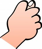 image of obscene gesture  - Close up of a male hand making a fig sign gesture with the hand where fingers are curled forming the fist and the thumb goes between the middle and index fingers partly poking out - JPG