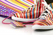 stock photo of shoes colorful  - pair of colorful striped gym - JPG