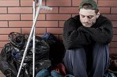 picture of beggar  - Disabled and homeless man living on the street - JPG