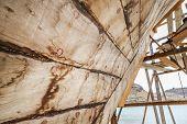 picture of shipbuilding  - Traditional handiwork shipbuilding from wood in Sur Oman  - JPG