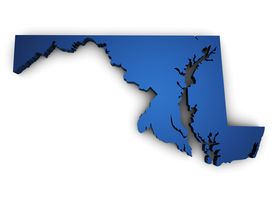 pic of maryland  - Shape 3d of Maryland state map colored in blue and isolated on white background - JPG