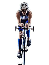picture of triathlon  - man triathlon iron man athlete bikers cyclists bicycling biking  in silhouettes on white background - JPG